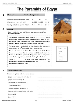 Intermediate Level ESL EFL Worksheets, activities and lesson