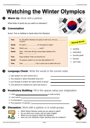 Olympic Games Worksheets For Esl Efl Esol Teachers From Handouts Online