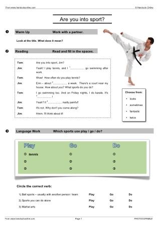Sport Efl Esl Search Worksheet Results
